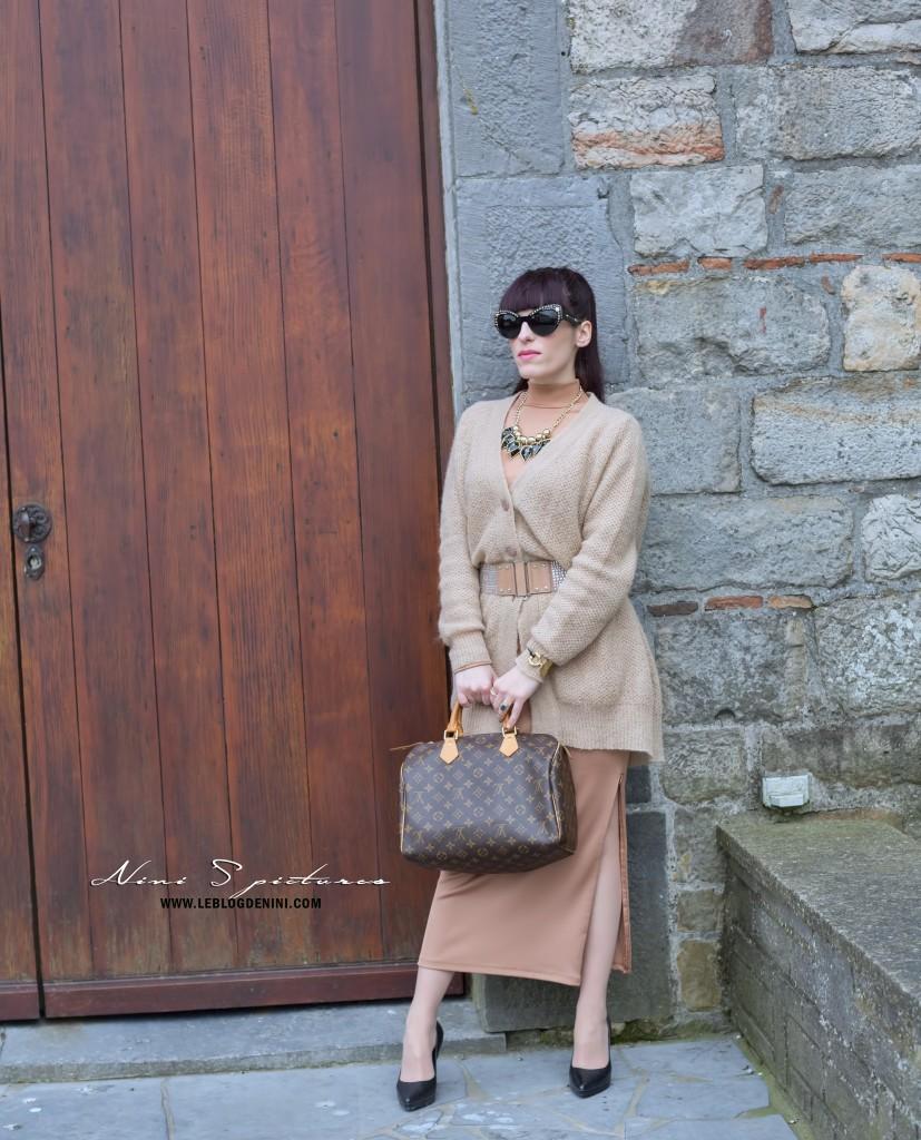 robe h&m nude brune