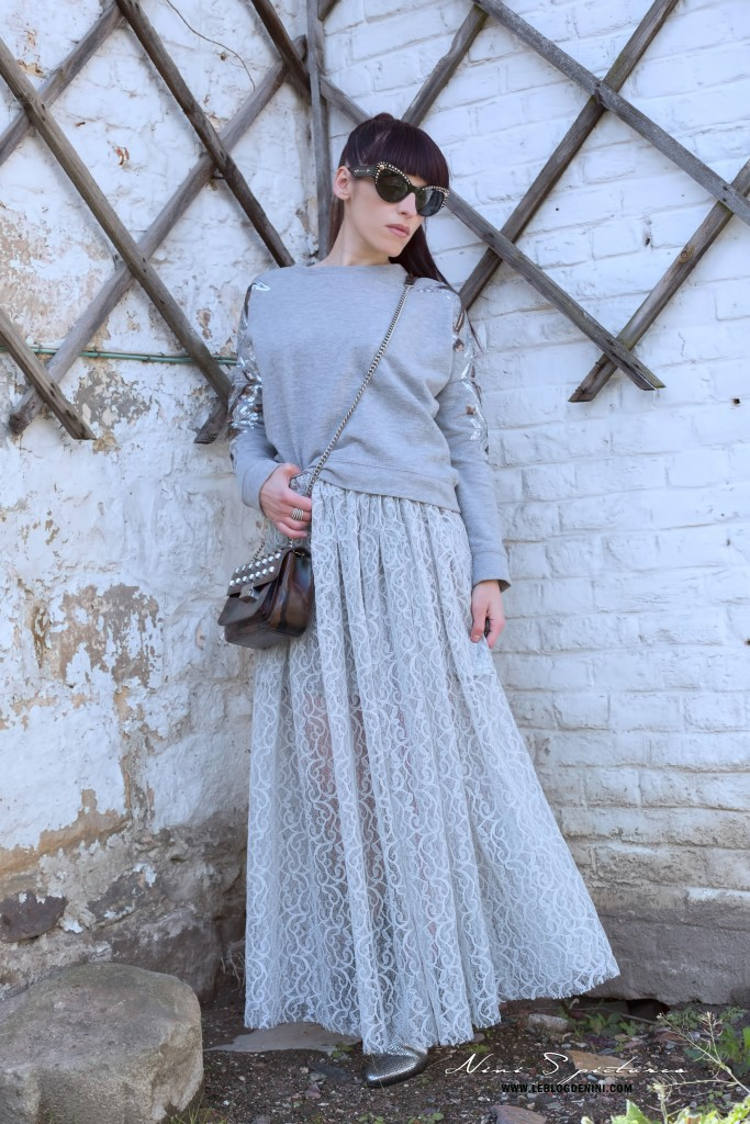 grey lace skirt diy