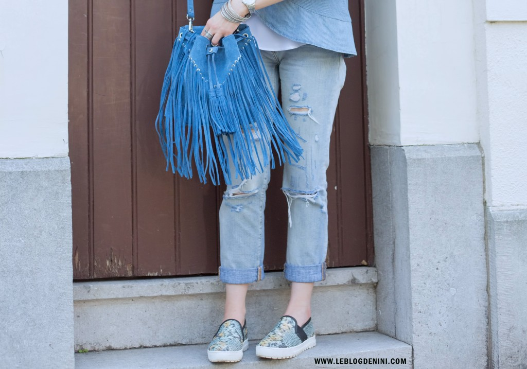 sac bleu à franges sandro paris
