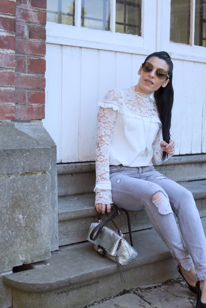 top lace shein white et jeans gris ikks