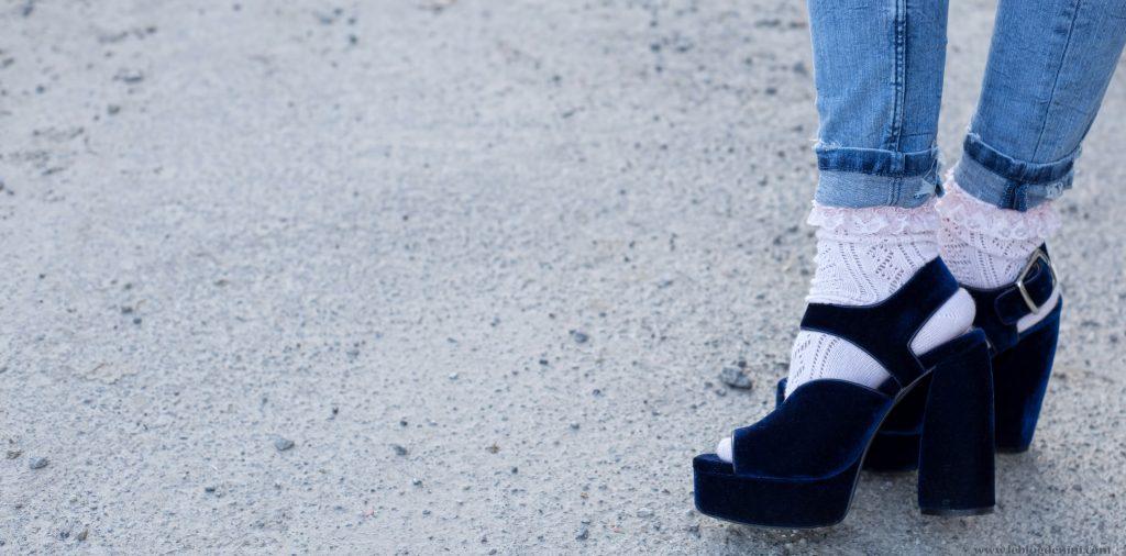 sandales zara velour bleu