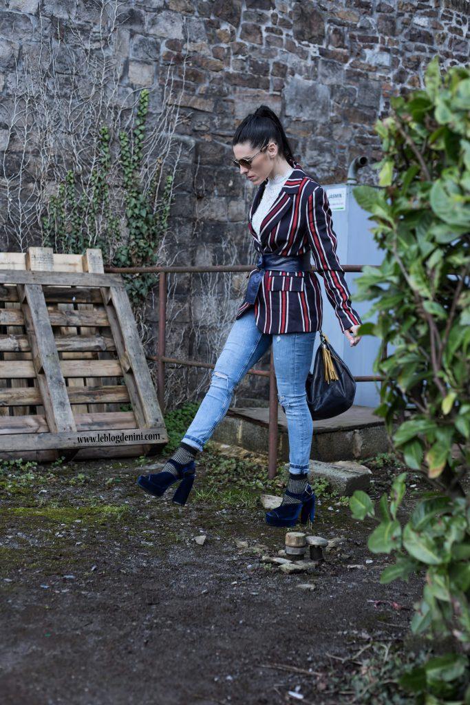 style with denim et blazer hm sandales zara